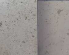 We replicated the appearance of the original stone sample (on the left) with a custom blend (right).